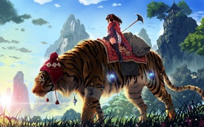 Обои тигр, девушка, горы, kankurou, копье, трава