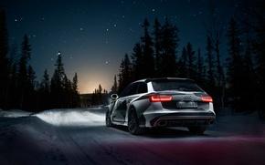 Обои Quattro, Rs6, Снег, Ночь, Лес, Дорога, Audi, Звёзды