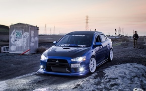 Обои Mitsubishi, drift, Evolution, EVO, JDM, Drag, WooBoost