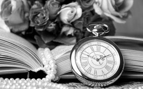 Картинка ретро, часы, розы, ожерелье, книга, винтаж