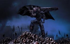 Картинка оружие, кровь, меч, черепа, парень, плащ, поле брани, berserk, guts
