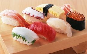Обои красная, японская кухня, имбирь, икра, рис, еда, креветки, роллы, осьминог, морепродукты, суши
