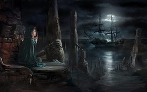 Картинка корабль, свет, плащ, рыжая, капюшон, берег, луна, полнолуние, девушка, ночь, облака