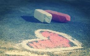 Обои мел, асфальт, сердце, рисунок, фото