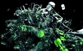 Обои предметы, зеленый, цилиндры, прозрачный