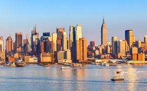 Картинка США, небоскребы, дома, залив, Нью-Йорк, пейзаж, побережье