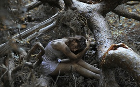 Картинка лес, девушка, дерево, грязь, боке, The Spriggan-2