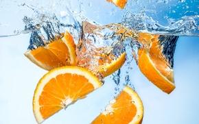 Обои вода, апельсин, дольки