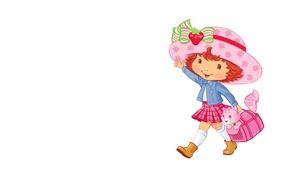 Картинка фон, настроение, арт, девочка, сумка, кошечка