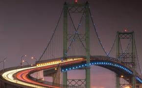 Картинка небо, мост, огни, вечер, опора