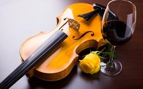 Обои роза, цветок, скрипка, вино, бокал, желтая