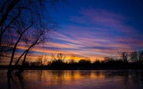 Картинка облака, деревья, озеро, вечер, США, Иллинойс, закат. небо