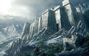 Обои воин, снег, горы, Замок