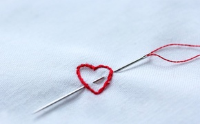 Картинка сердце, нитки, иголка