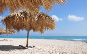 Картинка песок, море, вода, пейзаж, природа, пальмы, океан, лежаки, карибы