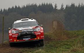 Картинка Красный, Авто, Поворот, Капот, Занос, Citroen, WRC, Rally, Передок, ds3