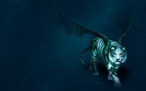 Обои тигр, фон, броня, крылья, арт