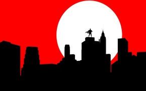 Картинка город, луна, бэтмен, силуэт, маска, плащ, Batman