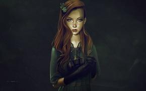 Обои противогаз, лицо, арт, рыжие волосы, платье, взгляд