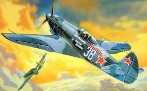 Картинка рисунок, ВВС СССР, Як-9Т, ОКБ имени Яковлева, советский одномоторный самолёт-истребитель, выборнов