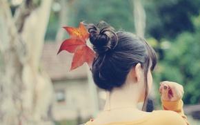 Картинка листья, девушка, фон, настроения, листок, брюнетка