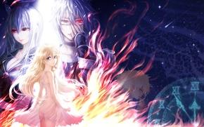 Картинка девушки, аниме, арт, парень, touhou, kirisame marisa, kamishirasawa keine, mizuhashi parsee, morichika rinnosuke