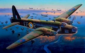 Картинка bomber, war, art, painting, aviation, ww2, Vickers Wellington