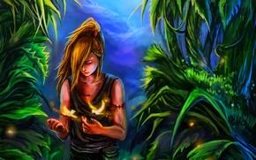 Обои зелень, лес, птицы, магия, арт, парень, naruto, шрамы, rikamello