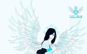 Обои узор, Девушка, крылья, точки