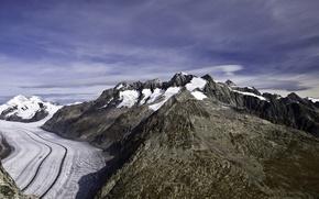 Картинка небо, облака, снег, горы, ледник