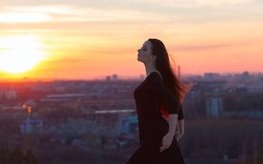Картинка девушка, city, блики, вид, платье, брюнетка, black, sunset, боке, hair, длинноволосая, Mike Shatikhin