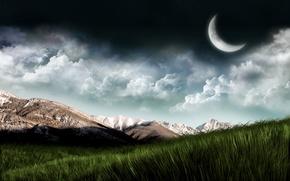 Обои небо, трава, планета, горы