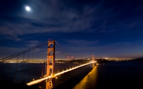 Картинка ночь, мост, огни, Сан-Франциско, золотые ворота, USA, Night, golden gate bridge