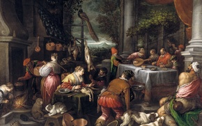 Картинка животные, люди, картина, жанровая, мифология, Богач и Лазарь, Леандро Бассано