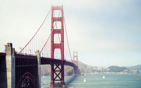 Обои мост, Сан-Франциско, Золотые Ворота, Бэй-бридж, Калифорния, город, США