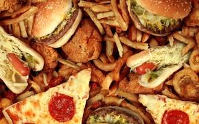 Картинка гамбургер, сосиска, хот-дог, фастфуд, композиция, аппетитно, картошка фри, калории, луковые кольца