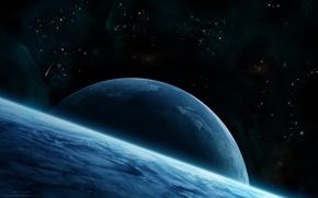 Картинка Star, Blue, planet, asteroid, Sci Fi