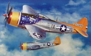 Картинка war, art, painting, drawing, ww2, illustration, american aircraft, P-47 Thunderbolt