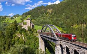 Обои лес, мост, замок, поезд, Австрия, виадук, Austria, Тироль, Tyrol, Trisannabrücke, Trisanna Bridge, Замок Висберг, Wiesberg ...