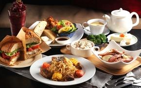 Обои рис, бутерброд, овощи, десерт, блюда, ассорти, паста