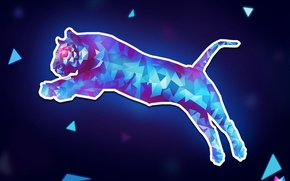Картинка кошка, линии, прыжок, треугольники, угол, геометрия, Tiger, jump, cat, art, puma, Crystallized, by Asterii, abstract ...