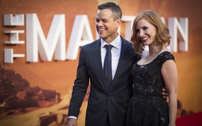 Обои актеры, Jessica Chastain, Джессика Честейн, презентация, фильма, Matt Damon, Марсианин, The Martian, Мэтт Дэймон