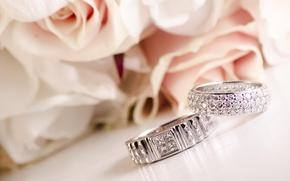 Картинка бриллианты, розы, праздник, кольца, свадьба