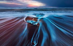 Картинка море, волны, пляж, небо, облака, природа, лёд, выдержка, Исландия