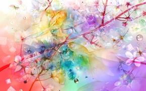 Картинка рыбки, цветы, ветвь, art, saiga tokihito