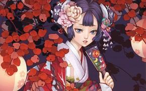 Картинка цветы, веер, арт, девочка, фонарики, dong xiao