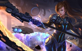 Картинка девушка, фантастика, посох, art, Heroes of Newerth, Fayde, Shadowkiller Fayde
