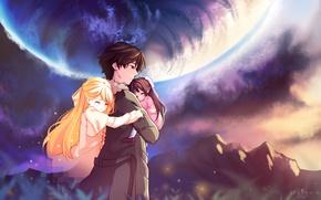 Картинка девочки, планета, аниме, арт, парень, Рин, shelter