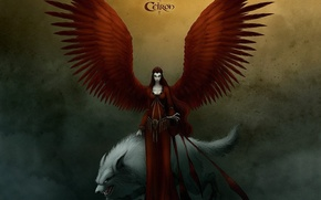 Картинка красный, крылья, Волк