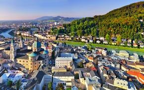 Обои Дома, Горы, Город, Река, Австрия, панорама, Зальцбург